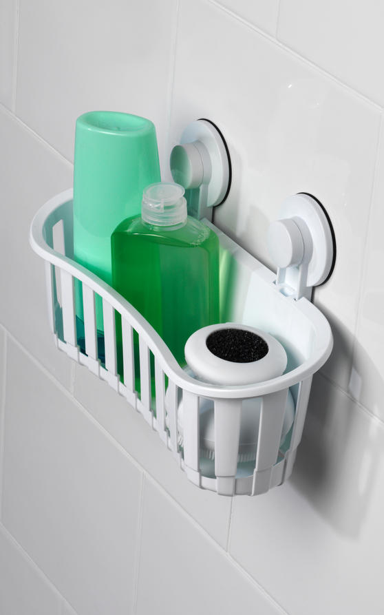 Beldray Plastic Suction Bathroom Shower Basket, White Thumbnail 7