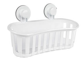 Beldray LA043252 Plastic Suction Bathroom Shower Basket, White Thumbnail 2