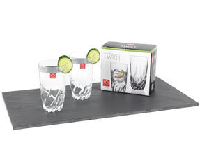 RCR 25123020006 Twist Crystal Hi-Ball Cocktail Water Tumblers Glasses, 470 ml, Set of 2