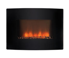 Beldray EH1734BQDIS Fortana Electric Curved Wall Fire with Flame Effect, 2000W, Black