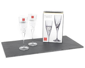 RCR 25121020006 Twist Crystal Champagne Flutes Glasses, 200 ml, Set of 2