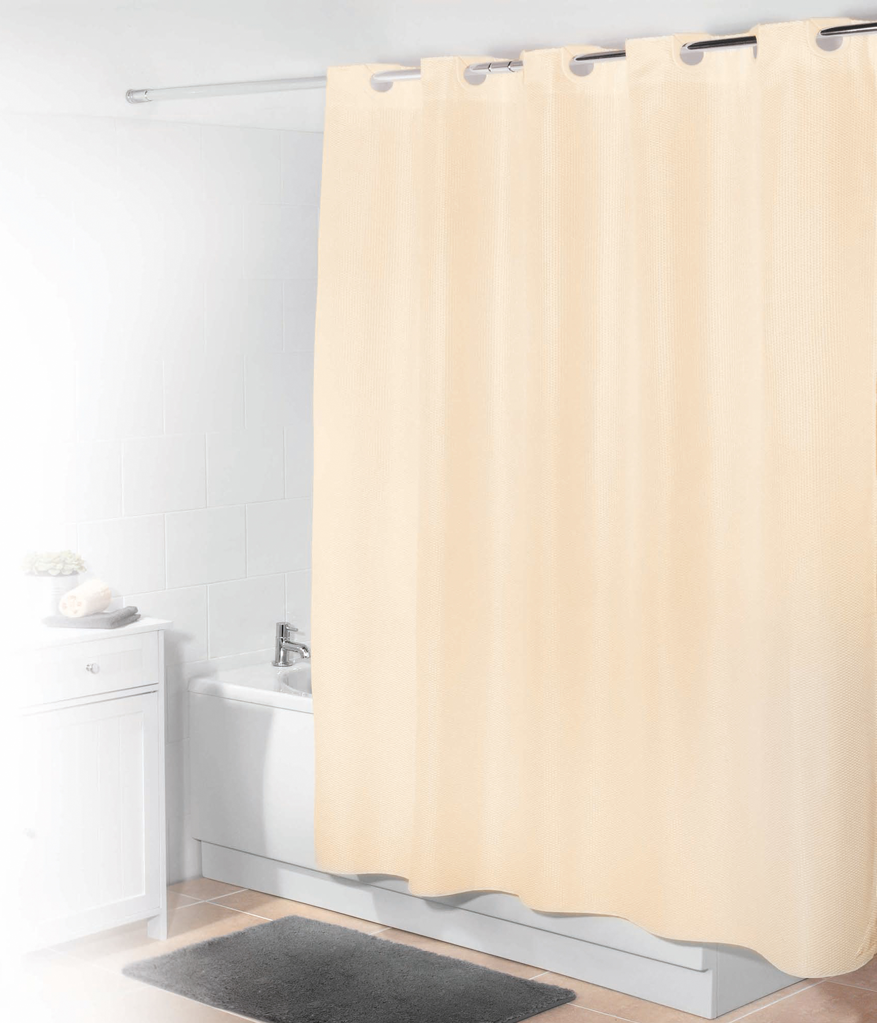 Beldray Waffle Hookless Shower Curtain, 180 x 180 cm, Cream | Beldray