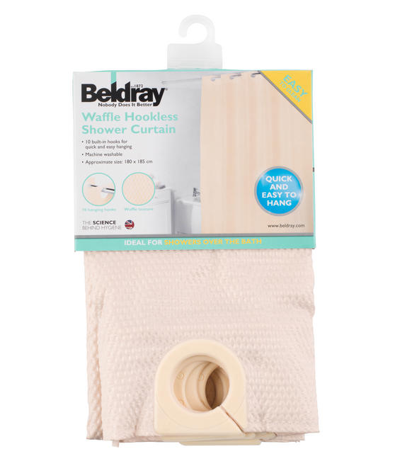 Beldray Waffle Hookless Shower Curtain, 180 x 180 cm, Cream Thumbnail 5