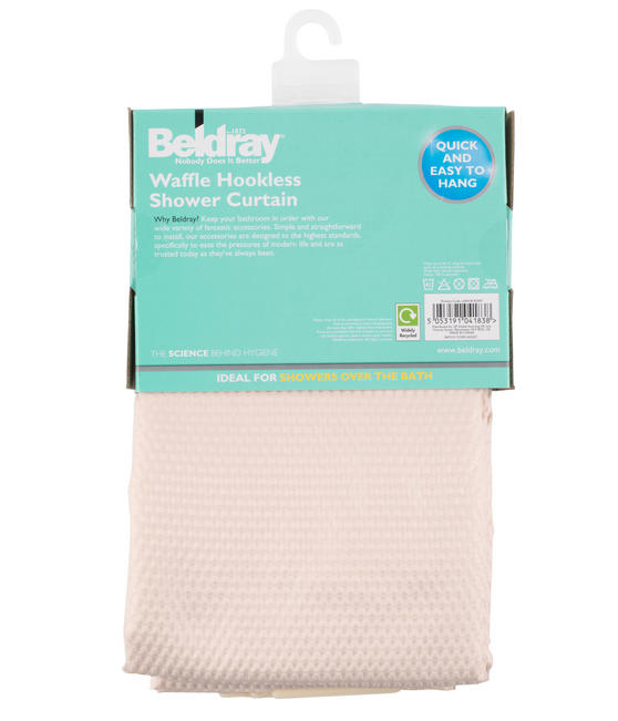 Beldray Waffle Hookless Shower Curtain, 180 x 180 cm, Cream Thumbnail 6
