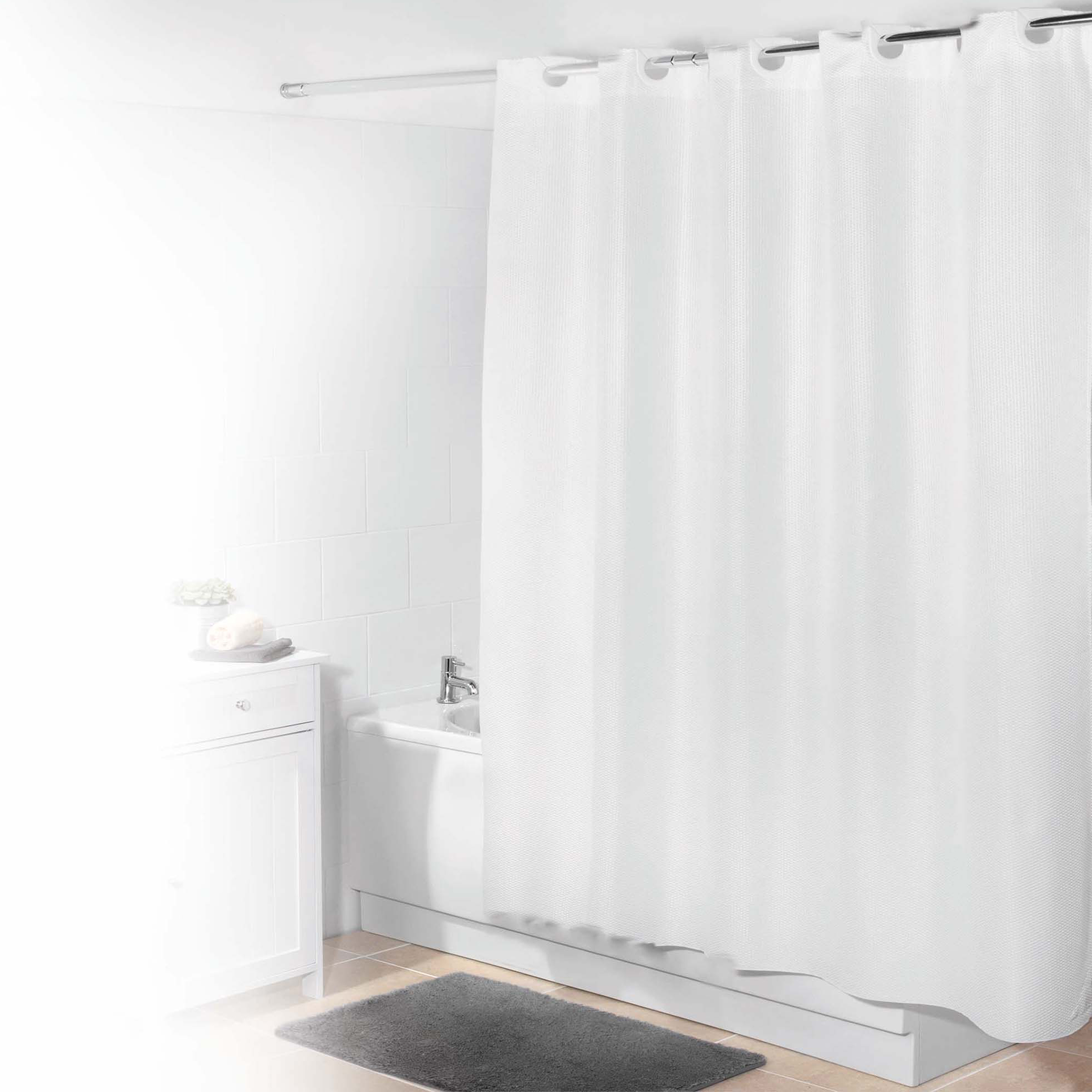 Beldray Waffle Hookless Shower Curtain 180 X 180 Cm White