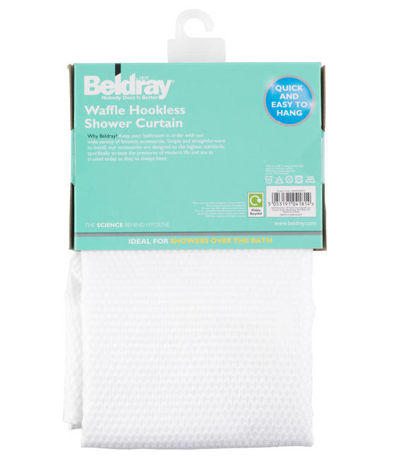 Beldray Waffle Hookless Shower Curtain, 180 x 180 cm, White Thumbnail 6