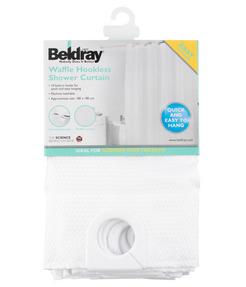 Beldray LA041814WHT Waffle Hookless Shower Curtain, 180 x 180 cm, White Thumbnail 5