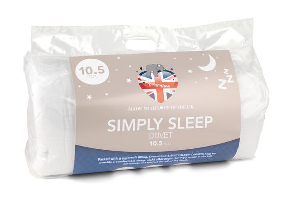 Dreamtime MFDT15070 Simply Sleep 10.5 Tog Duvet, Polyester, Single, White