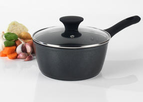 Salter BW05750 Megastone Collection Non-Stick Forged Aluminium Saucepan, 20 cm, Black Thumbnail 3