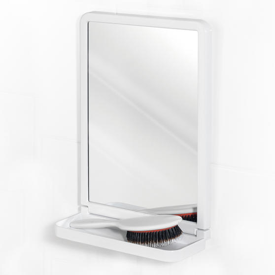 Beldray Square Suction Mirror with Shelf, White Thumbnail 1