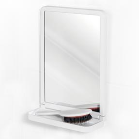 Beldray LA046550 Square Suction Mirror with Shelf, White
