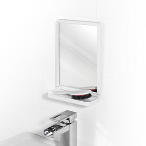 Beldray LA046550 Square Suction Mirror with Shelf, White Thumbnail 2