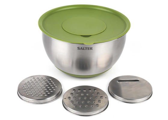 Salter BW05708GR Mixing Bowl with 3 Interchangeable Graters, Stainless Steel, Green