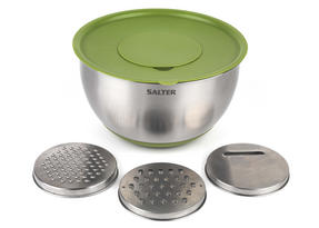 Salter Mixing Bowl with 3 Interchangeable Graters, Stainless Steel, Green