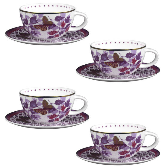 Portobello CM04907X4 Harlow Bone China Cup and Saucer, Set of 4