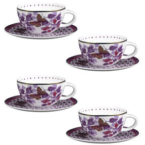 Portobello CM04907X4 Harlow Bone China Cup and Saucer, Set of 4 Thumbnail 1
