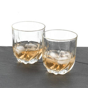 RCR 25122020006 Twist Crystal Short Whisky Water Tumblers Glasses, 400 ml, Set of 2