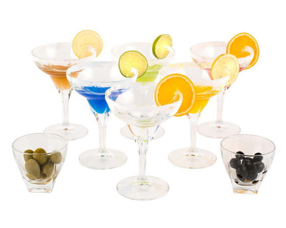 RCR 25559020006 Fusion Crystal Party Cocktail Set of 6 Margarita Glasses and 2 Small Party Bowls