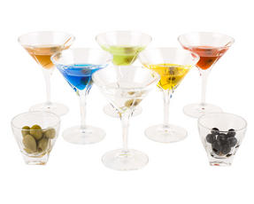 RCR 25560020006 Fusion Crystal Party Cocktail Set of 6 Martini Glasses and 2 Small Party Bowls