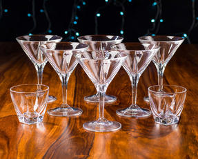 RCR 25560020006 Fusion Crystal Party Cocktail Set of 6 Martini Glasses and 2 Small Party Bowls Thumbnail 3