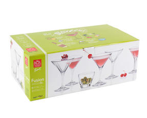 RCR 25560020006 Fusion Crystal Party Cocktail Set of 6 Martini Glasses and 2 Small Party Bowls Thumbnail 6