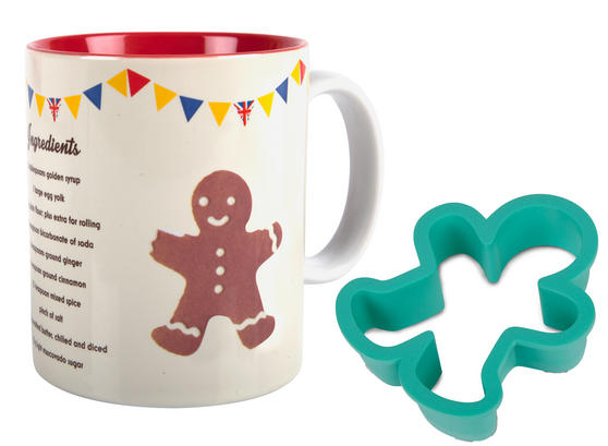 Great British Bake Off 88200706C Gingerbread Man GBBO Printed Gift Mug and Cutter