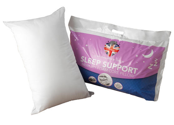 Dreamtime MF02599UP Sleep Support Memory Foam Core Pillow, Cotton, White, Set of Two