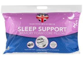 Dreamtime MF02599UP Sleep Support Memory Foam Core Pillow, Cotton, White, Set of Two Thumbnail 2