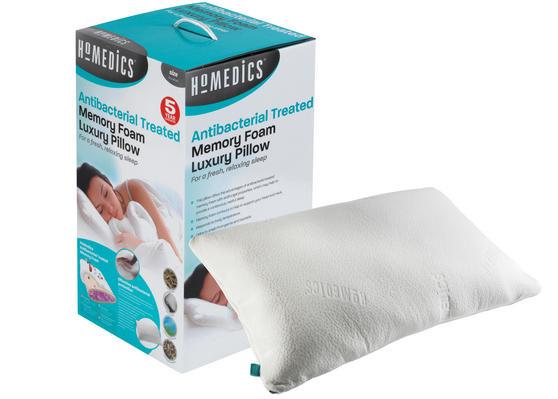 HoMedics MFHAB88435UP Antibacterial Memory Foam Pillow, White, Set of Two