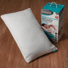 HoMedics MFHAB88435UP Antibacterial Memory Foam Pillow, White, Set of Two Thumbnail 4