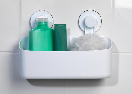 Beldray Plastic Suction Bathroom Storage Basket, White Thumbnail 3