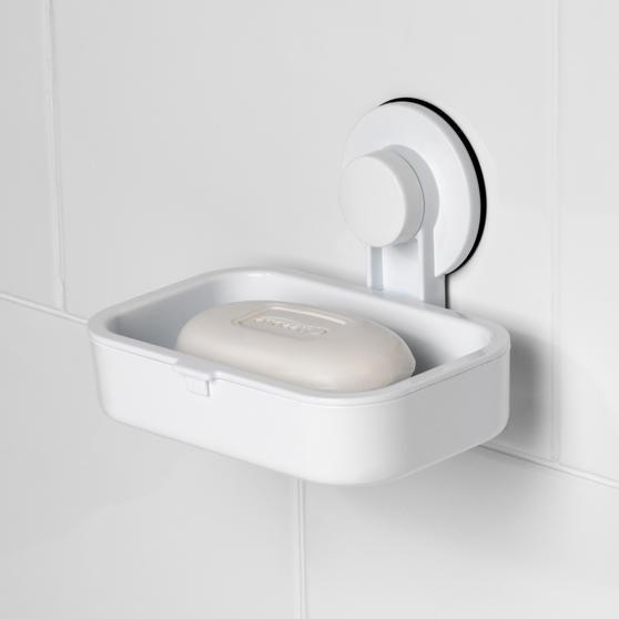 Beldray Plastic Suction Soap Dish, White Thumbnail 3