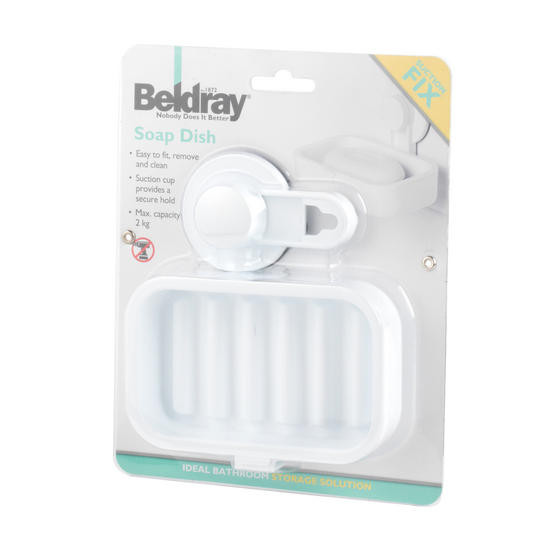 Beldray Plastic Suction Soap Dish, White Thumbnail 7