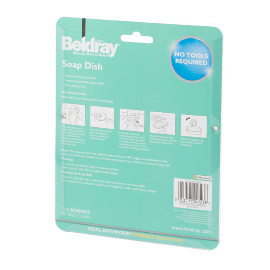 Beldray Plastic Suction Soap Dish, White Thumbnail 8