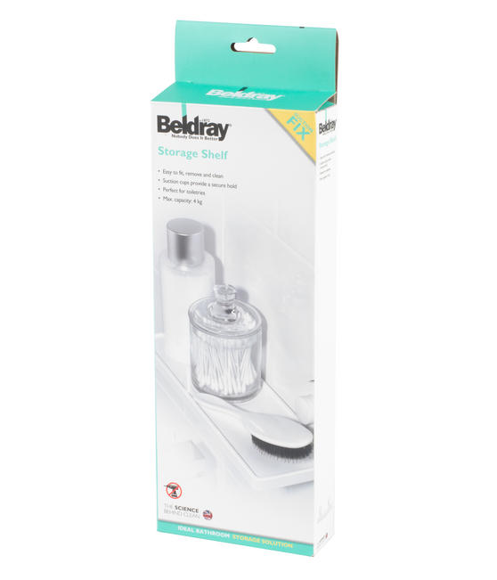 Beldray Plastic Suction Bathroom Shelf, White Thumbnail 7