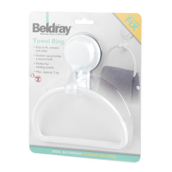 Beldray Plastic Suction Towel Ring, White Thumbnail 7