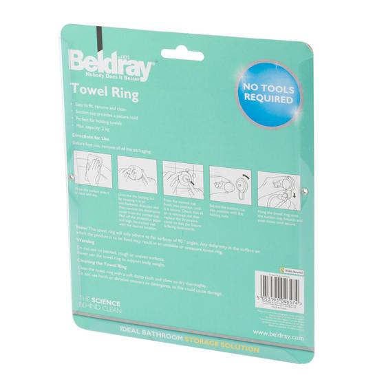 Beldray Plastic Suction Towel Ring, White Thumbnail 8
