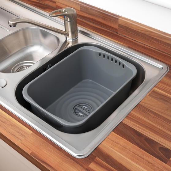 Beldray Washing Up Bowl with Drainer, Grey Thumbnail 4
