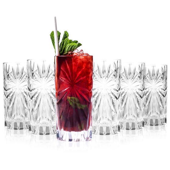 RCR 26277020006 Oasis Crystal Hi-Ball Cocktail Water Tumblers Glasses, 360 ml, Set of 6