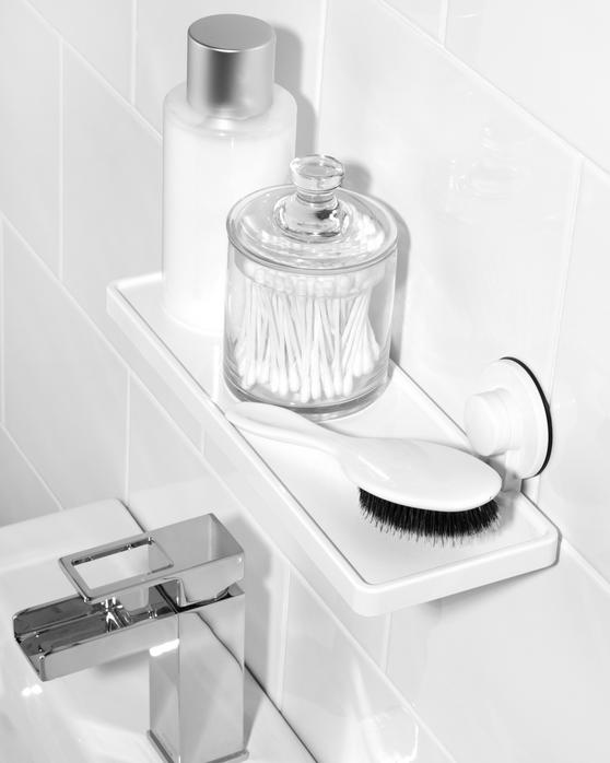 Beldray Bathroom Plastic Suction Shelf, Towel Ring and Toothbrush Holder, White Thumbnail 4