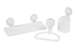 Beldray Bathroom Plastic Suction Shelf, Towel Ring and Toothbrush Holder, White Thumbnail 1