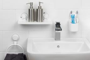 Beldray Bathroom Plastic Suction Shelf, Towel Ring and Toothbrush Holder, White Thumbnail 2