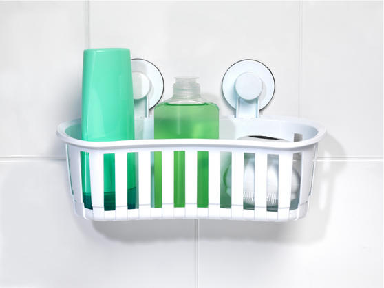 Beldray Bathroom Plastic Suction Shower Basket and Soap Dish, White Thumbnail 3