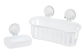Beldray Bathroom Plastic Suction Shower Basket and Soap Dish, White Thumbnail 1
