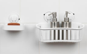 Beldray Bathroom Plastic Suction Shower Basket and Soap Dish, White Thumbnail 2