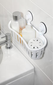 Beldray Bathroom Plastic Suction Shower Basket and Soap Dish, White Thumbnail 4