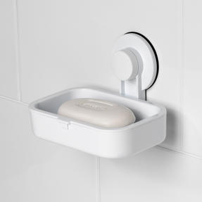 Beldray Bathroom Plastic Suction Shower Basket and Soap Dish, White Thumbnail 5
