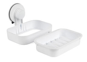 Beldray Bathroom Plastic Suction Shower Basket and Soap Dish, White Thumbnail 7