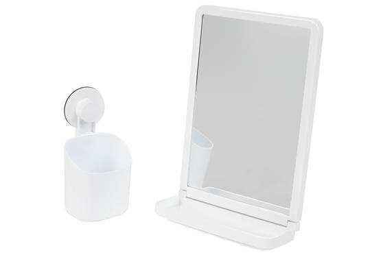 Beldray Bathroom Plastic Suction Toothbrush Holder and Square Suction Mirror with Shelf, White