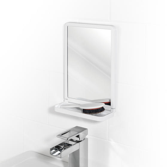 Beldray Bathroom Plastic Suction Toothbrush Holder and Square Suction Mirror with Shelf, White Thumbnail 3